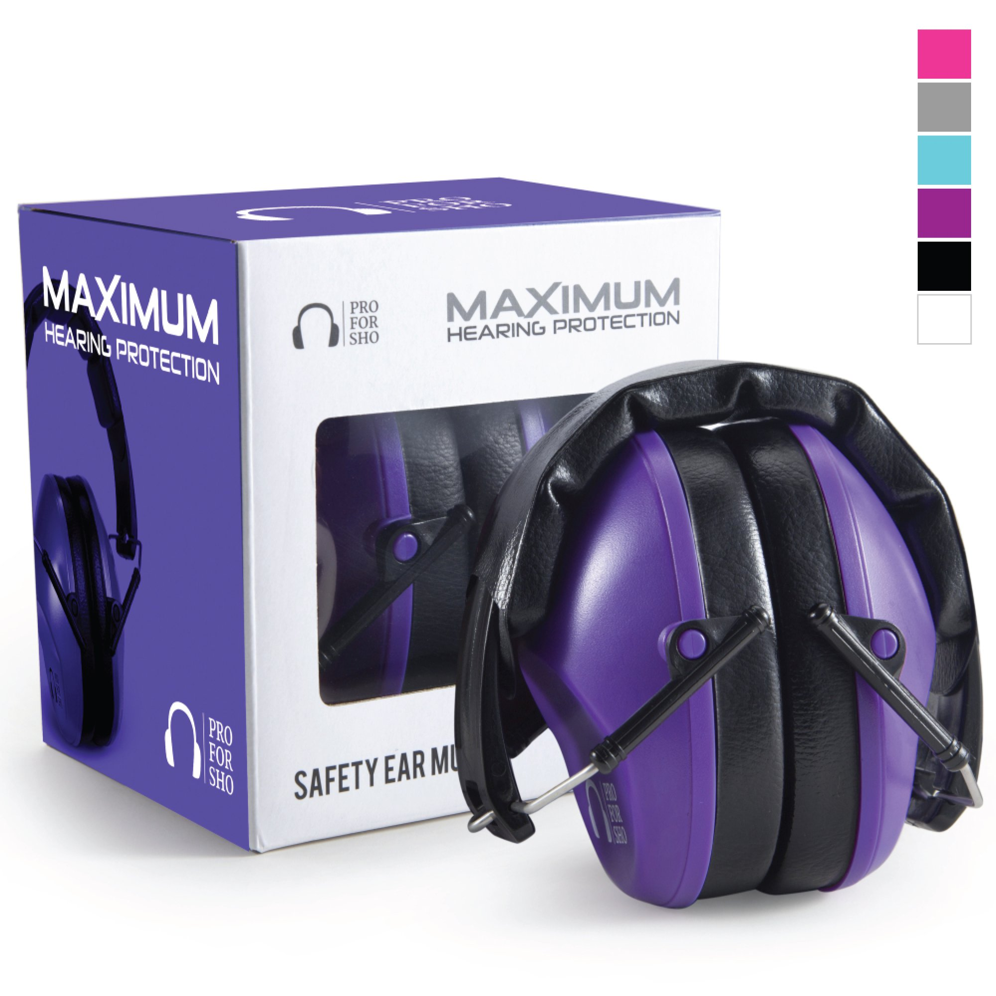 Pro For Sho 34dB Shooting Ear Protection - Special Designed Ear Muffs Lighter Weight & Maximum Hearing Protection - Standard Size, Purple by Pro For Sho