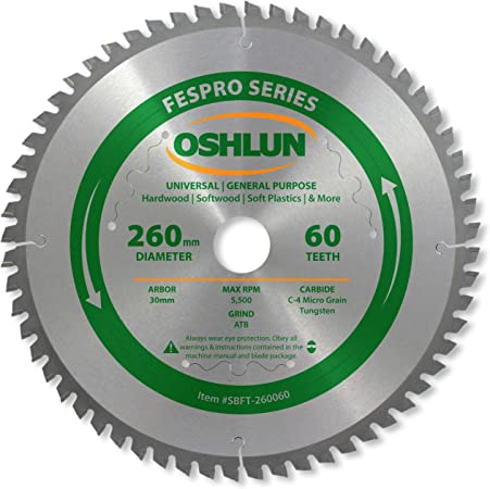 Oshlun SBFT-260060 260mm 60 Tooth FesPro General Purpose Blade