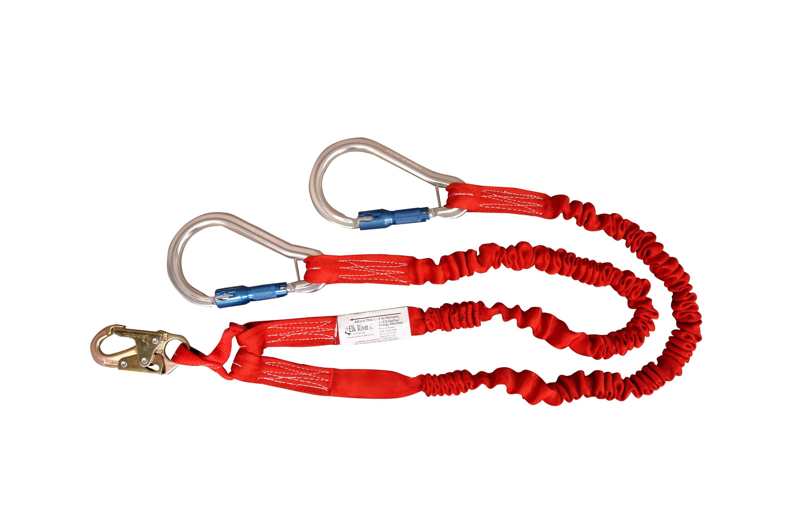 Elk River 35416 Flex-NoPac Energy-Absorbing 2 Leg Polyester Web Lanyard with Zsnaphook and Aluminum Carabiner, 3600 lbs Gate, 6' Length x 1-1/2'' Width