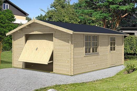 Alpholz B-44 ISO - Garaje de madera con puerta oscilante, 44 mm de grosor (470 x 568 cm): Amazon.es: Jardín