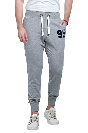 70e67a7405c8e Alan Jones Clothing Men's Cotton Blend Solid Joggers (Melange, Small)