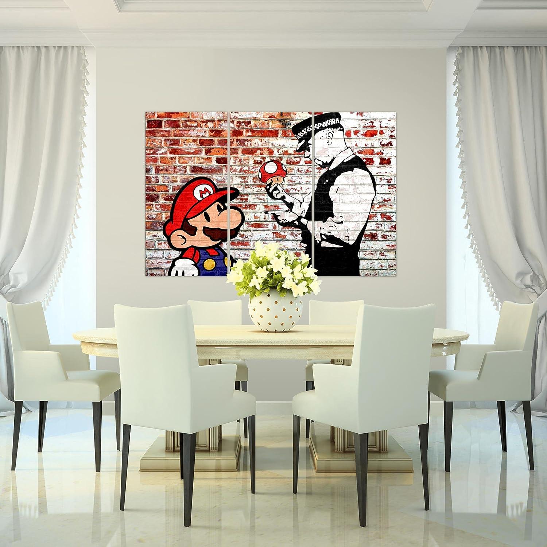Bilder Mario And Cop Banksy Ziegel Mauer Wandbild 120 X 80 Cm   3 Teilig  Vlies