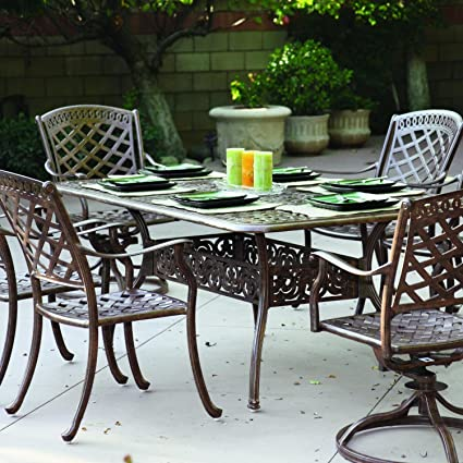 Amazon Com Darlee Sedona 7 Piece Cast Aluminum Patio Dining Set