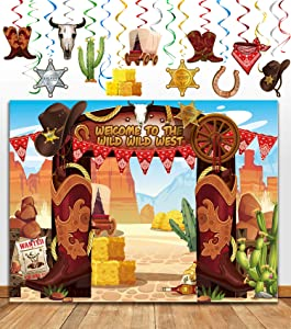 TMCCE Western Cowboy Party Decoration Wild West Cowboy Western Photography Backdrop Background And Western Cowboy Theme Hanging Swirls Foil Swirls