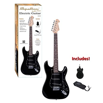 Amazon.com: Spectrum AIL 81B Full Size ST Style Electric Guitar with Mini Amp, Black: Musical Instruments