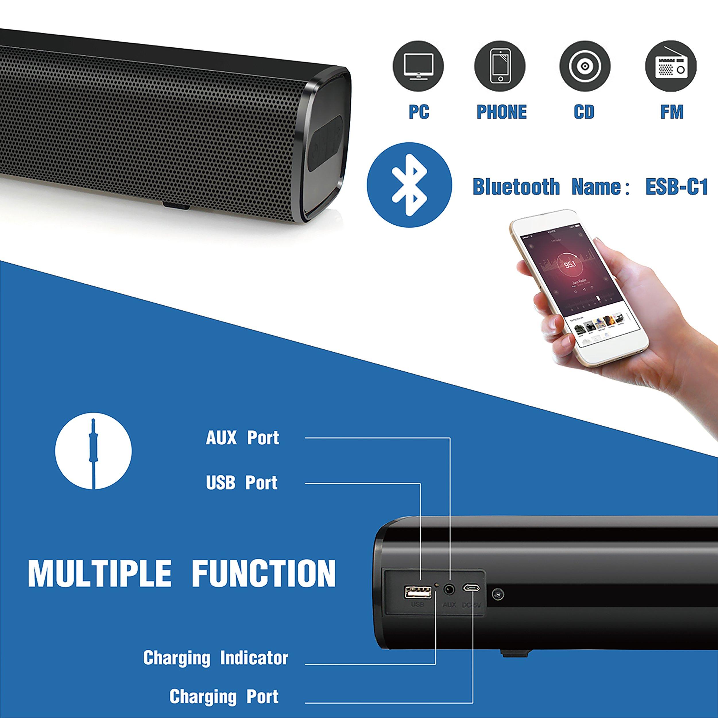 Sound Bar Vinoil Bluetooth Soundbar Audio Speaker Wire and Wireless ...