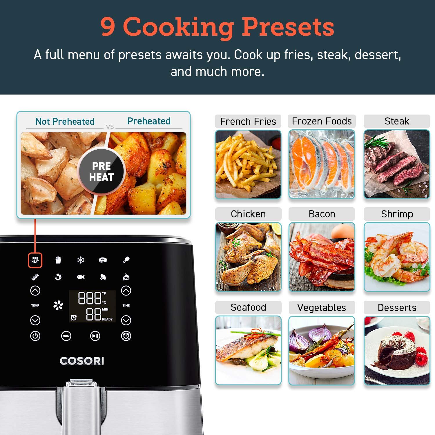 COSORI Stainless Steel Air Fryer (100 Recipes, Rack & 5 Skewers), 5.8Qt Large Air Fryers XL Oven Oilless Cooker, Preheat/Alarm Reminder, 9 Presets, Nonstick Basket, 2-Year Warranty, ETL/UL Listed by COSORI (Image #3)