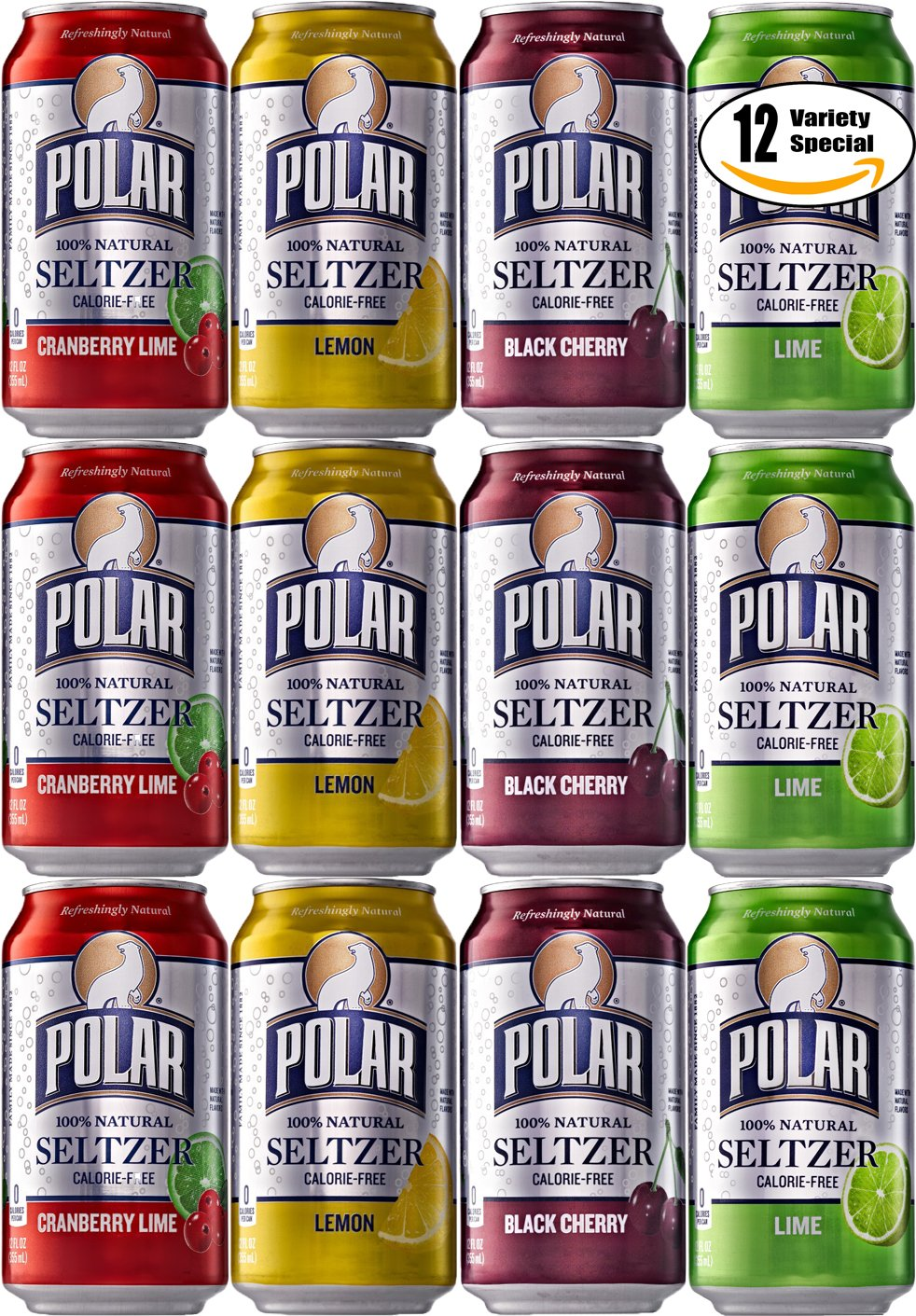Polar Seltzer Variety Special! Black Cherry, Cranberry Lime, Lemon, Lime Flavor, 12 oz Can (3 x 4 Flavors, Total of 12 Cans by  Polar Beverages