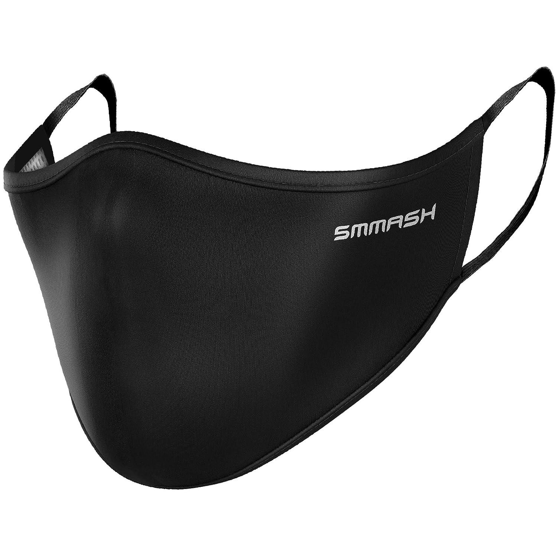 SMMASH Máscara de Verano, Mascarilla Facial Reutilizable, Lavable, Hecho de Material Ligero Que Permite Respirar, Protección contra el Polvo, para Hombre y Mujer (L/XL, Black)