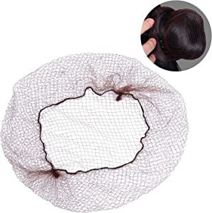 200 Pack Hair Nets Invisible Elastic Edge Mesh, Lightweight, Regular 20 Inches Size with 1/4 Inches Opening, Nylon Invisible Hairnet (Brown)