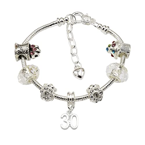 Womens Silver Plated Birthday Charm Bracelet With Gift Box