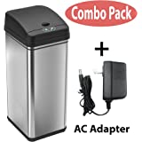 iTouchless Stainless Steel Trash Can with AC Adapter, Touchless Sensor Lid and Odor Filter Deodorizer – Kitchen Trash Can - Office Trash Can -13 Gal / 49 L