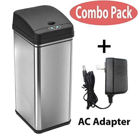 itouchless stainless steel trash can with ac adapter touchless sensor lid and odor filter deodorizer