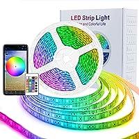 ASAKUKI WiFi LED Light Strip, 5050 RGB 300 LEDs Strip Lights 16.4ft/5M , IP65 Waterproof Rope Light Compatible with…