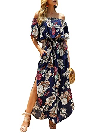 b94bb86442 imesrun Womens Off Shoulder Floral Party Dress Side Split Boho Ruffle Maxi  Dress Navy Small