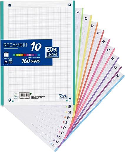 Oferta amazon: Hojas cuadriculadas A4 Recambio Oxford, School, 10 Banda colores, 160 Hojas, Cuadrícula 5x5, Multicolor