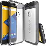 Nexus 6P Case, Ringke [Fusion] Clear PC Back TPU Bumper w/Screen Protector [Drop Protection/Shock Absorption Technology][Attached Dust Cap] for Huawei Nexus 6P - Clear (Smoke Black)