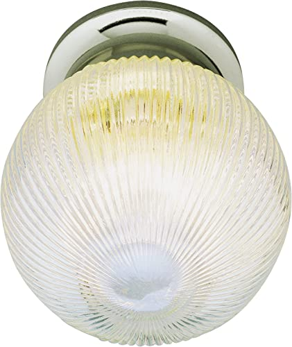 Trans Glob Lighting Trans Globe Imports 3632 BN Traditional One Light Flushmount from Harbor Collection in Pwt, Nckl, B S, Slvr. Finish, 6.00 inches, Brushed Nickel