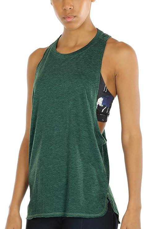 icyzone Sport Tank Top Damen Locker - Yoga Fitness Shirt Racerback Oberteile  atmungsaktive (Army, 3af7177b9f