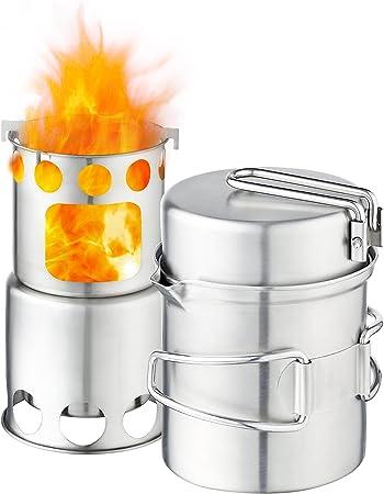 Qunlei 304 - Batería de Cocina de Acero Inoxidable para Acampada con Estufa de Madera, Kit Completo Ligero para cocinar al Aire Libre, Camping, ...