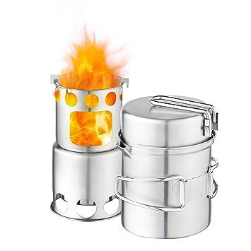 Qunlei 304 - Batería de Cocina de Acero Inoxidable para Acampada con Estufa de Madera,