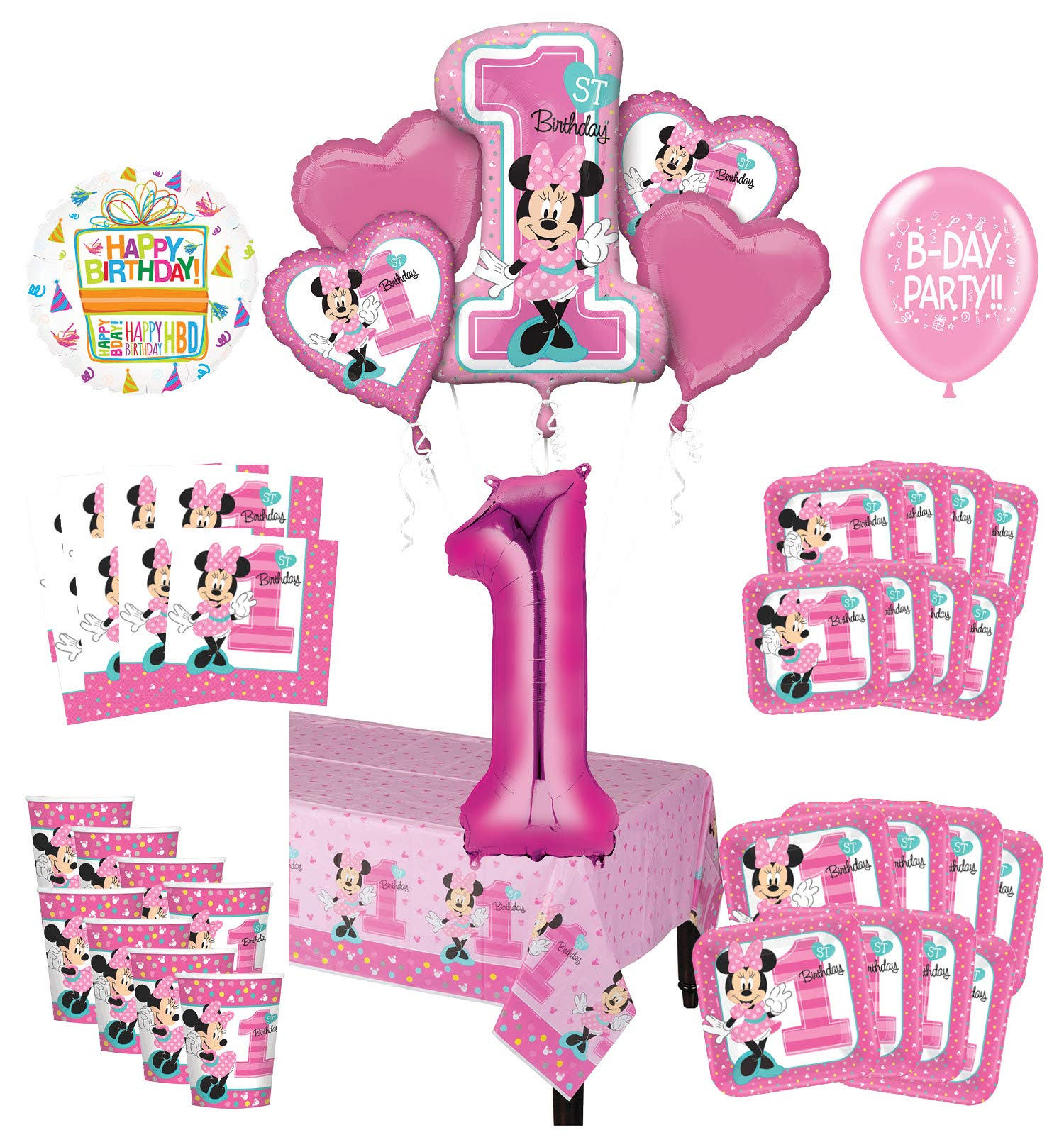 Mayflower Products Minnie Mouse 1st Birthday Party Supplies 16 Guest Decoration Kit and Balloon Bouquet