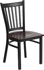 Flash Furniture HERCULES Series Black Vertical Back Metal Restaurant Chair - Walnut Wood Seat