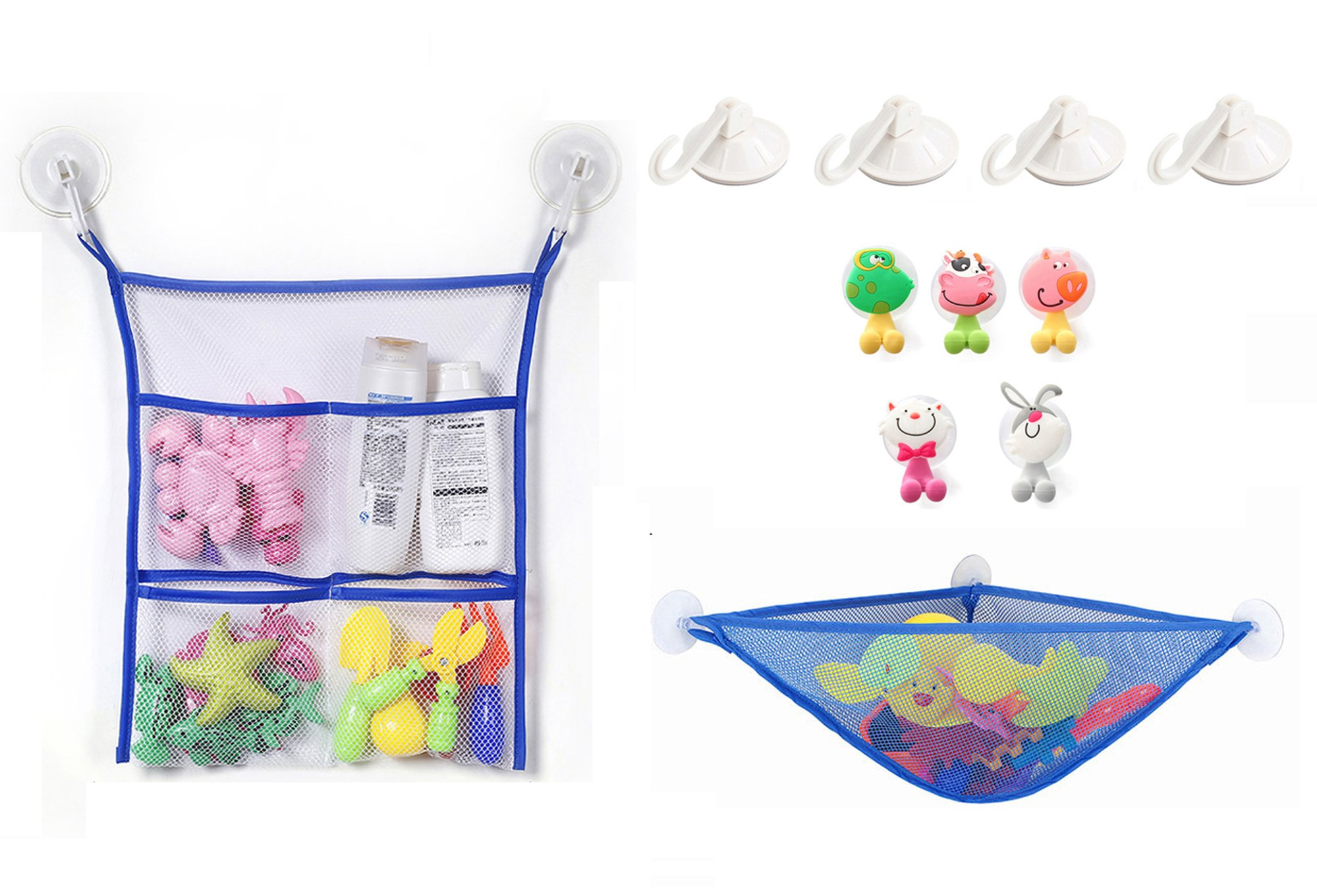 Alasida Bath Toy Organizer Set, 2 Mesh Bath Toy Storage Bag, 4 Strong Suction Cups Hook, 5 Cartoon Animal Toothbrush Holders