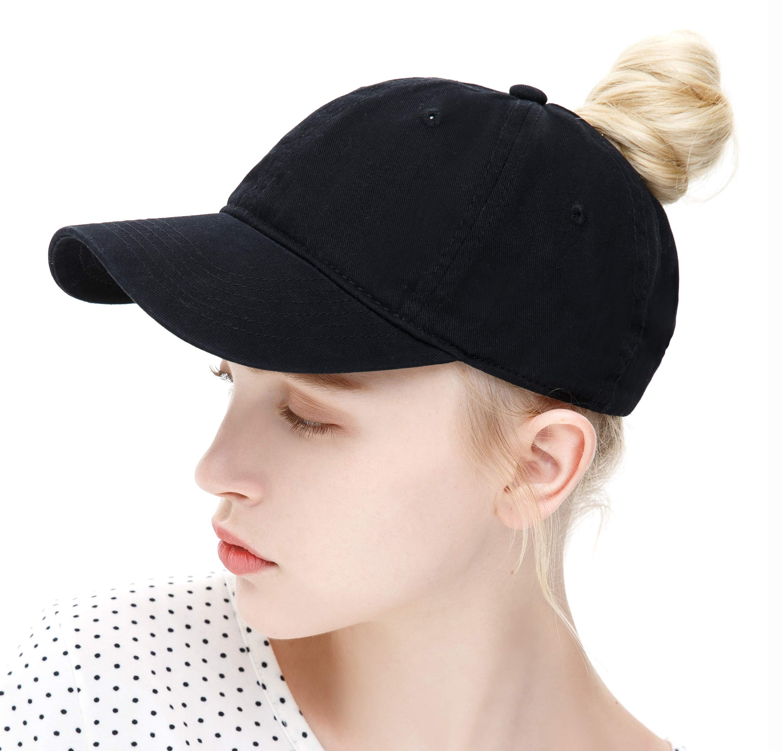 ELLEWIN Ponytail Messy High Bun Hat Ponycaps Adjustable Cotton and Trucker Baseball Cap