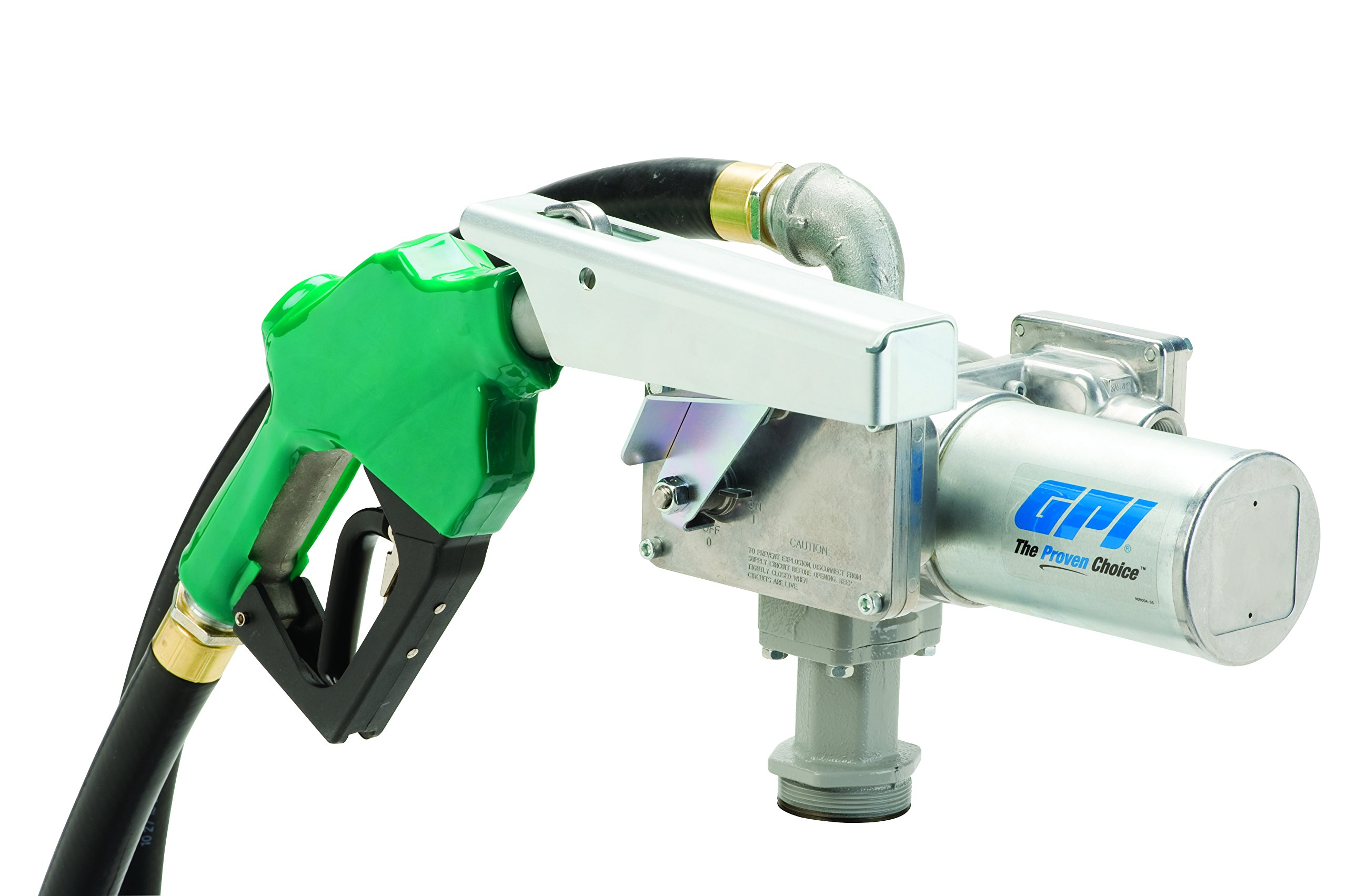 GPI 144000-01, M-3020-AD High Flow Cast Iron Fuel Transfer Pump, 20 GPM, 12-VDC, 1-Inch Automatic Diesel Nozzle, 12-Foot Fuel Hose, 18-Foot Power Cord, Adjustable Suction Pipe