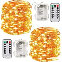 Led String Lights Battery Powered,[2 Pack] Fairy String Lights Battery Operated Waterproof 8 Modes 100 LED 33ft with…