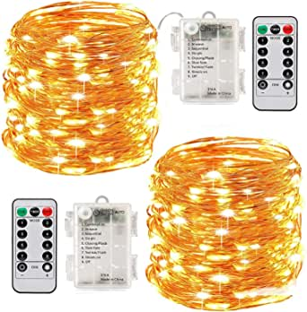 Led String Lights Battery Powered,[2 Pack] Fairy String Lights Battery Operated Waterproof 8 Modes 100 LED 33ft with Remote Control Christmas Decoration Lights (Warm white-10M)