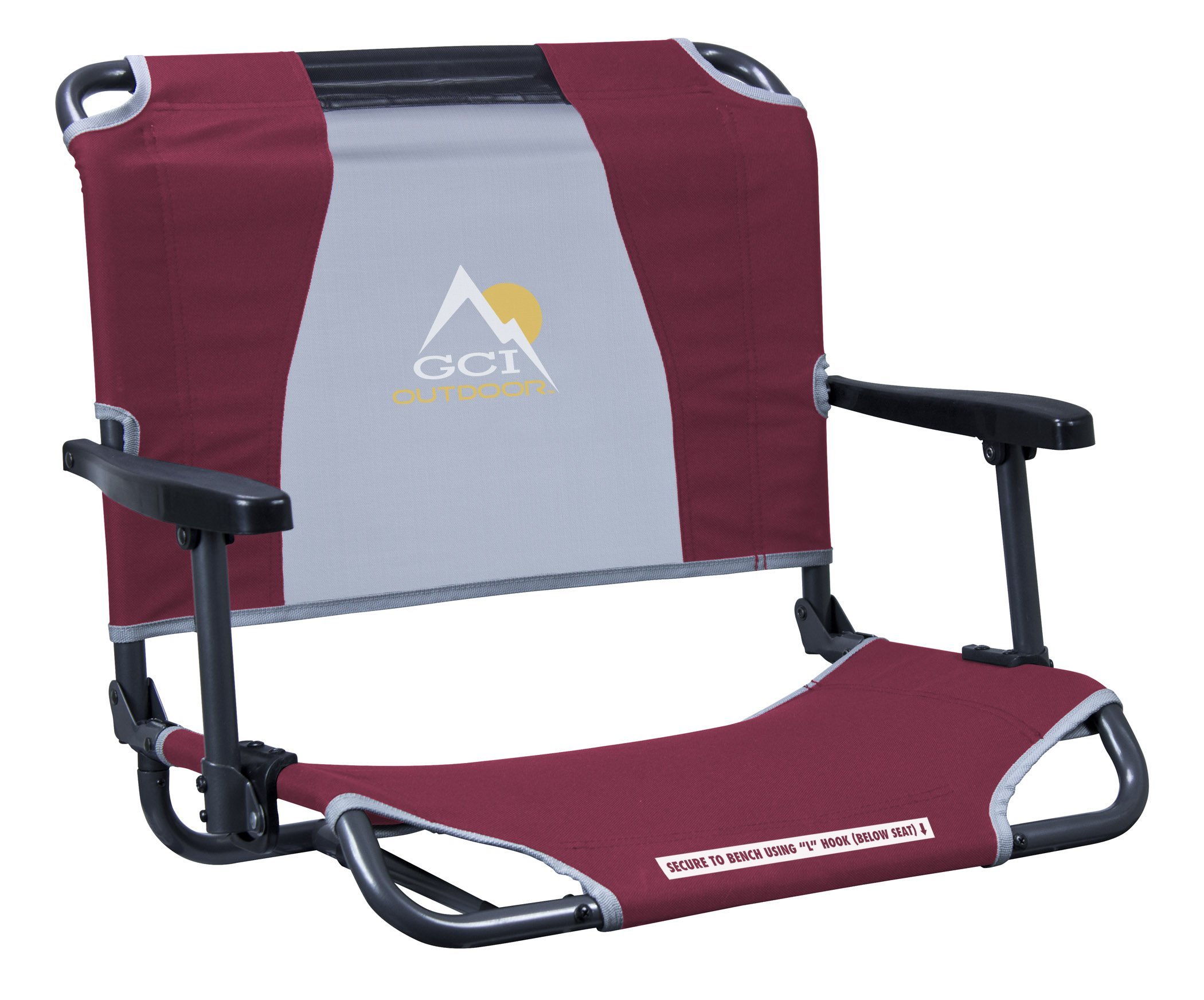 GCI Outdoor Big Comfort Wide Stadium Bleacher Seat with Back and Armrests, Maroon