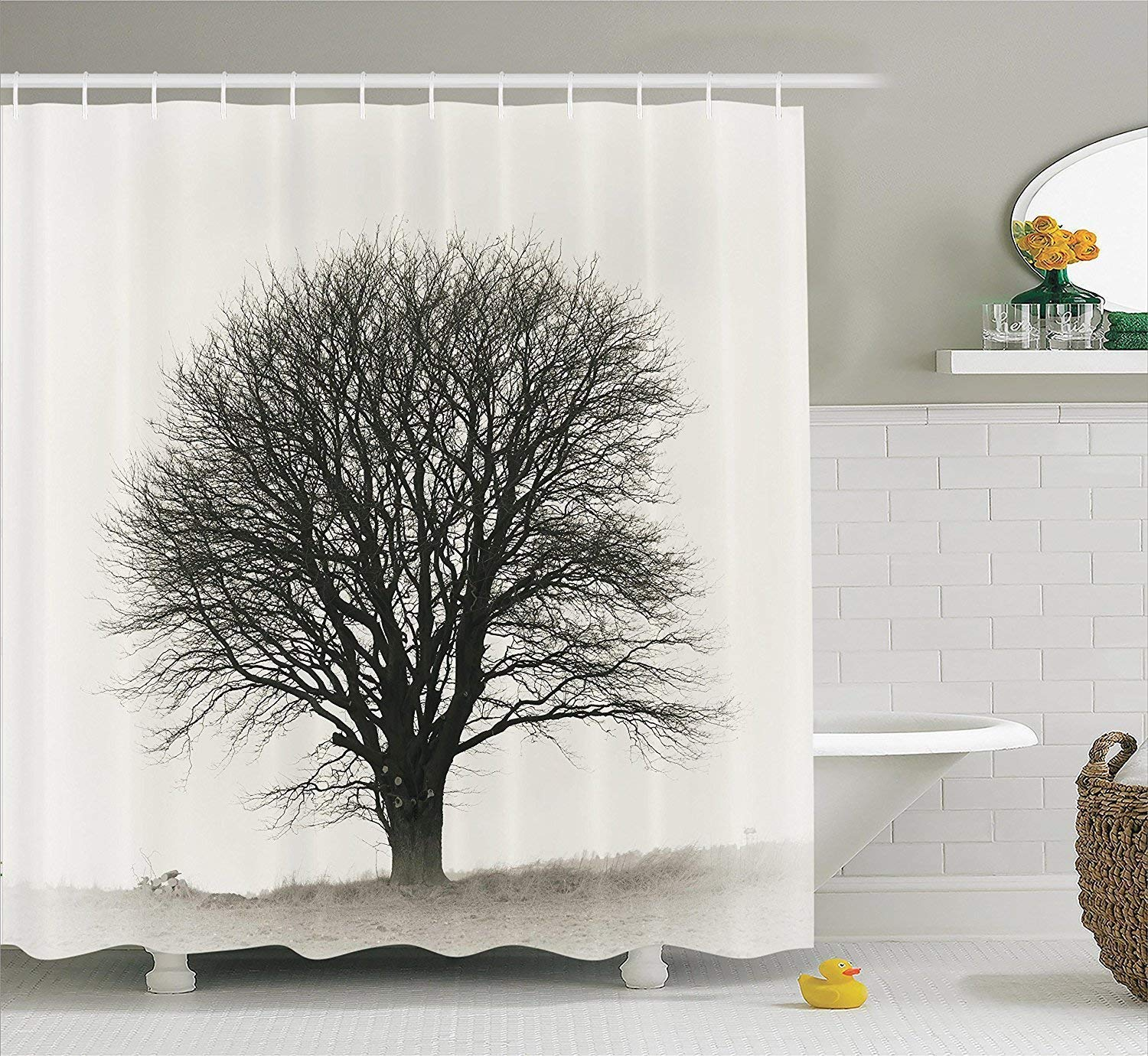 Diversión sexy werert werert sexy Farm House Decor Shower Curtain Set, Photo of A Big Tree On A Field Branches Fall Season Monochromic Landscape Artwork,Beige Black 72 X 72 a7c033