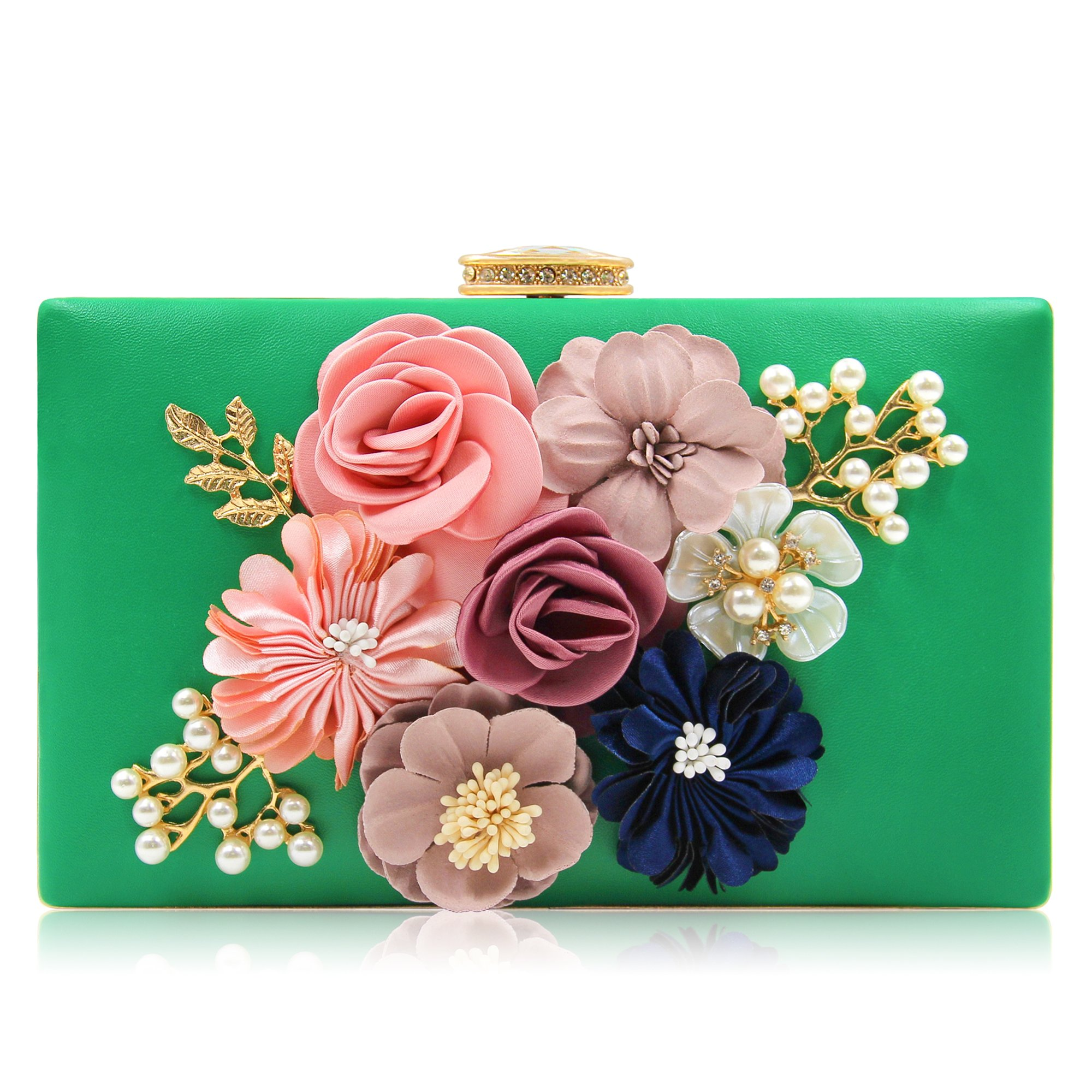 Milisente Women Flower Clutches Evening Bags Handbags Wedding Clutch Purse (Green)