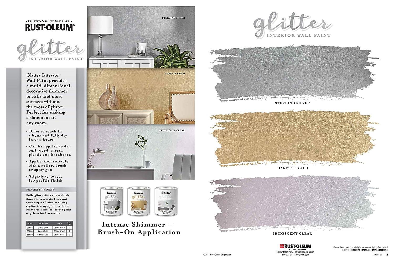 Rust Oleum 323860 Glitter Interior Wall Paint, Quart, Iridescent Clear      Amazon.com