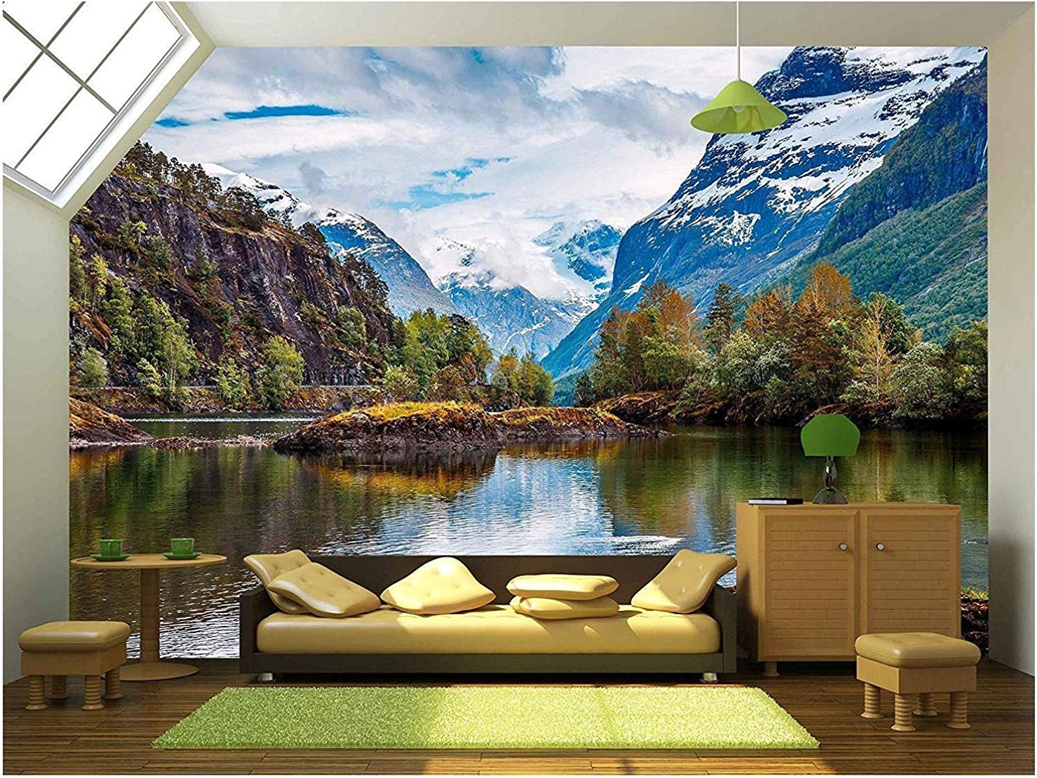 wall26 - Beautiful Nature Norway Natural Landscape. - Removable Wall Mural | Self-Adhesive Large Wallpaper - 66x96 inches