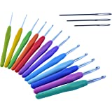 The ONLY 12 BEST CROCHET HOOKS SET WITH ERGONOMIC HANDLES FOR EXTREME COMFORT Perfect for Arthritic Hands Superior Performance for Any Patterns & Yarns Smooth Needle for Increased Productivity 2 ~ 8mm