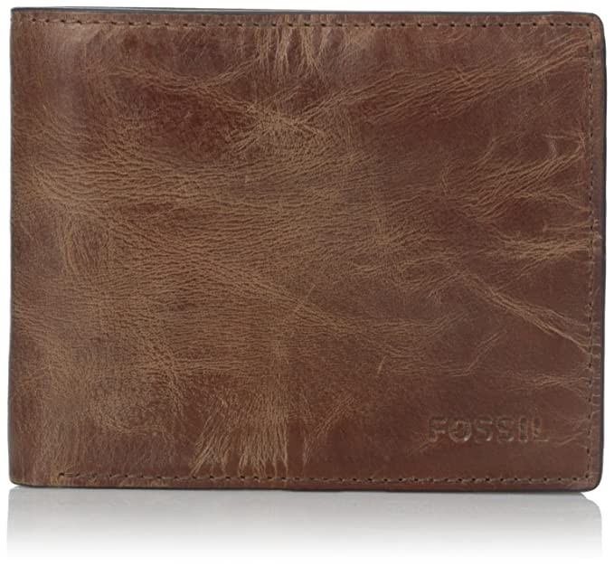 Fossil Mens Derrick Leather RFID Blocking Bifold Flip ID Wallet