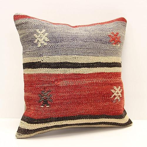Handmade Pillow Cover 16x16 PLLWSQR2504 Handwoven Vintage Kilim Pillow Case