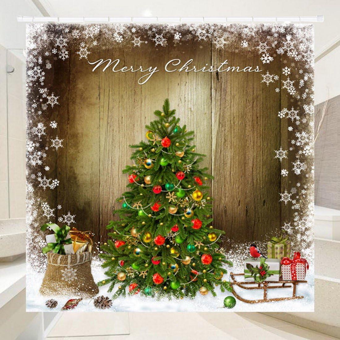 laamei Cortina de Ducha Impermeable de Ba/ño 3D Digital Impresi/ón Cortinas de Ba/ño Tema Navidad Decorativa Infantil de Poli/éster Resistente al Moho con Ganchos 180x180cm 180x200cm