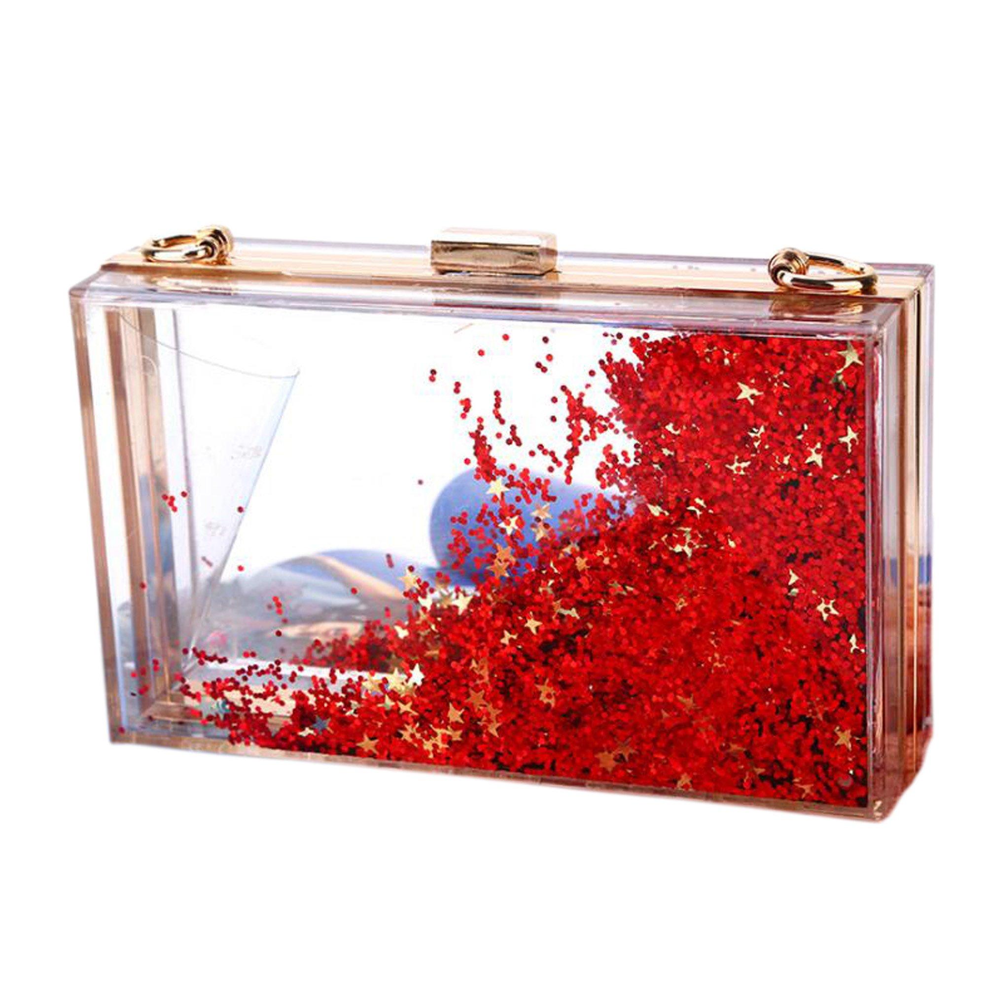 Women Girls Evening Party Acrylic Transparent Glitter Sequins Clutch Box Purse Bag Wedding Handbags (red)
