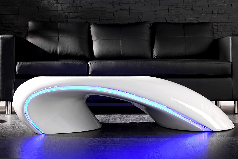 Invicta Interior 18882 Couchtisch Curve Weiss Mit LED Beleuchtung Amazonde Kche Haushalt