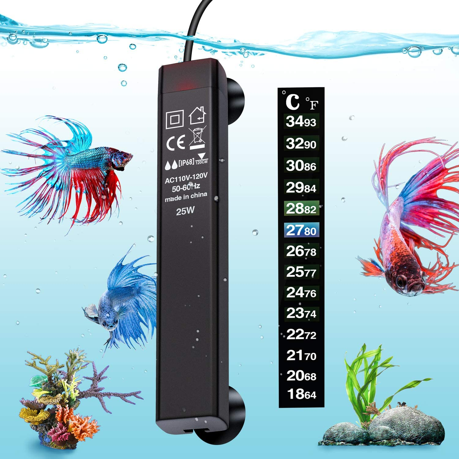 VIBIRIT Aquarium Heater,Betta Fish Tank Heater 25W/50W/100W/200W/300W Smart Aquarium Heater,Energy Efficient Submersible Thermostat + Thermometer Sticker
