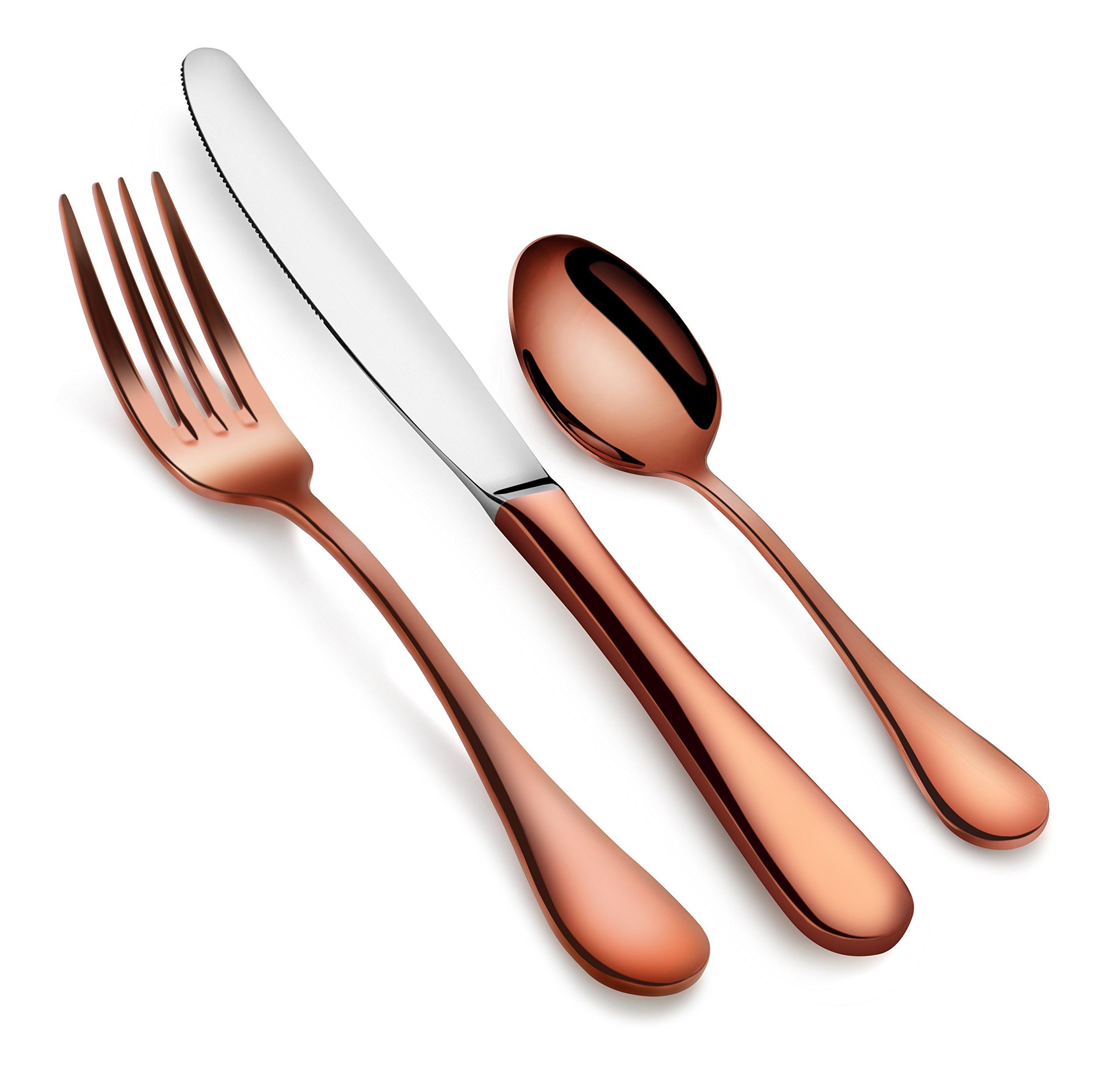 Artaste 56419 Rain 18/10 Stainless Steel Flatware 36 Piece Set, Antique Copper Finished, Service for 12