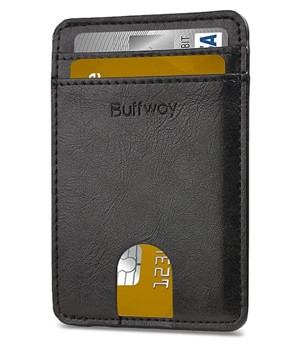 Slim Minimalist Leather Wallets for Men & Women (Small Size) - Seattle Black
