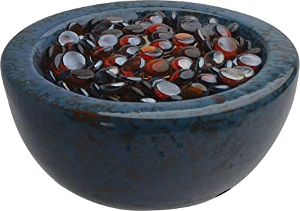 Bond Manufacturing Tabletop Umbrella Hole Mounted Gas Firebowl With Lava  Glass, Round, Blue