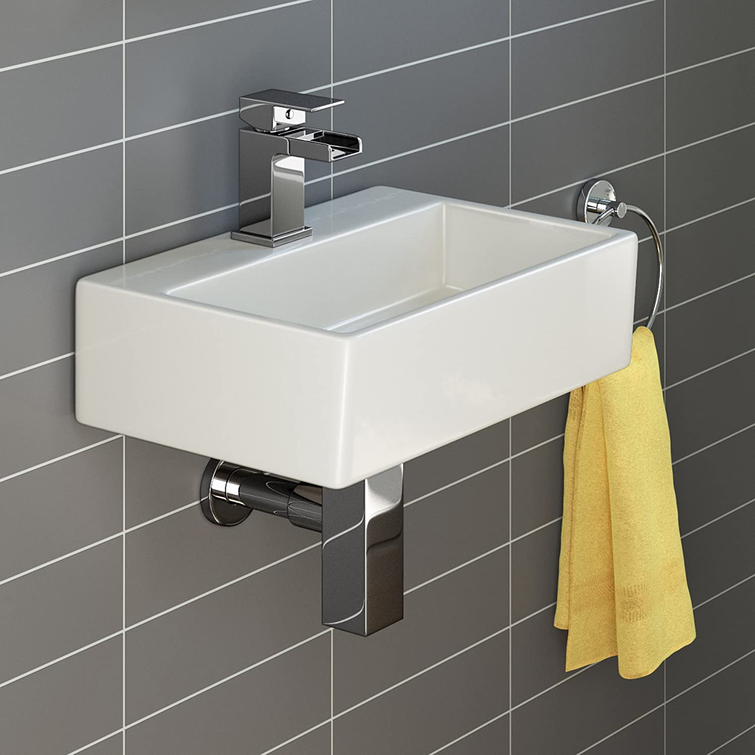 iBathUK | Modern Square Ceramic Small Cloakroom Basin Wall Hung Bathroom Sink CA1002