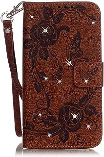 Cozy Hut iPhone 5 5S SE Wallet Case iPhone 5 5S SE Flip Hülle Schmetterling Blumen Muster Handyhülle Schutzhülle PU Leder Case Skin Brieftasche Ledertasche Tasche - Mint Green Chrysant