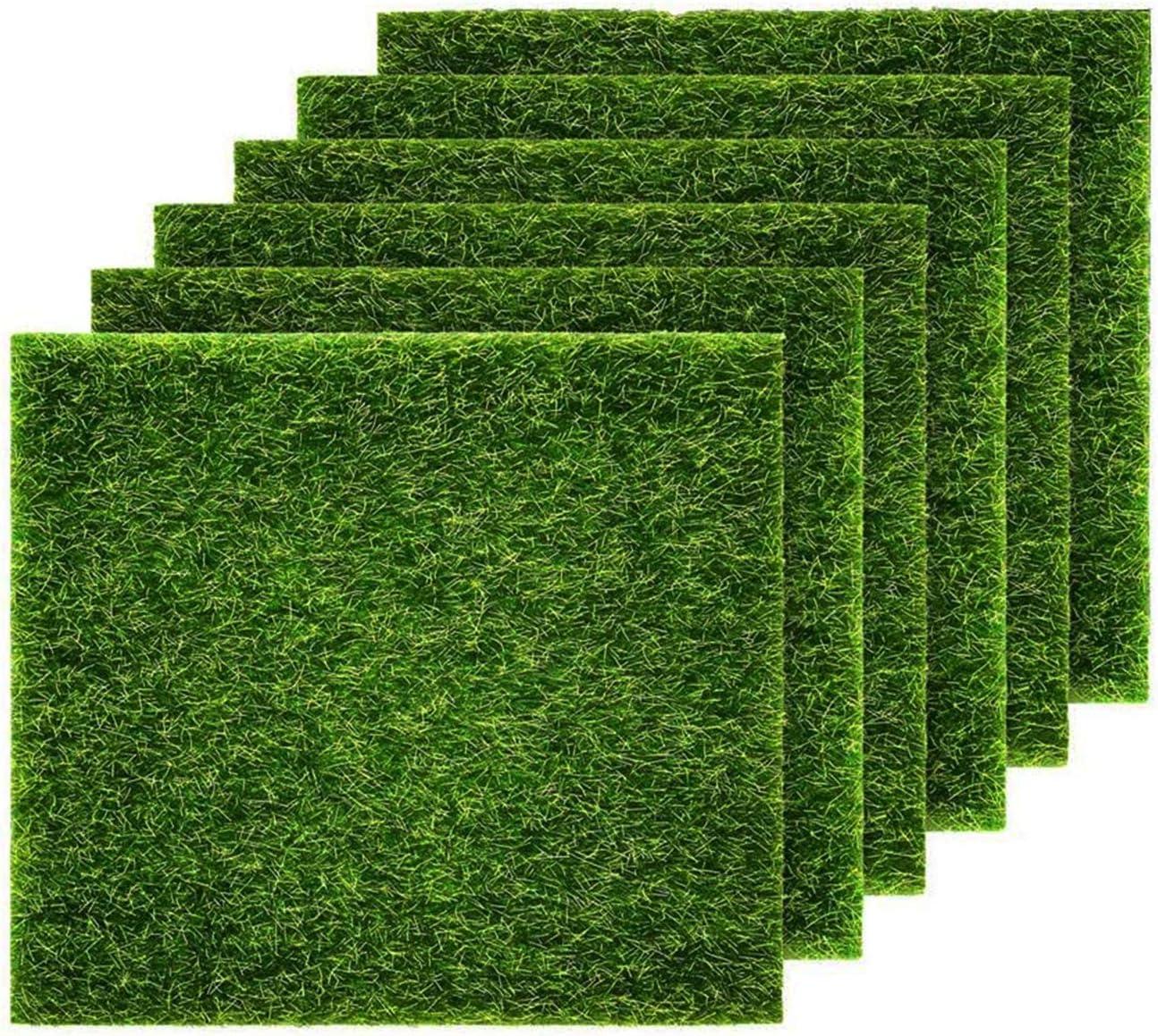 "E.YOMOQGG Artificial Grass Rug, 6 Pcs Artificial Moss Lawn, 6 x 6"" Turf Tile Decoration, Life-Like Fairy Garden Moss for Outdoor Dollhouse Miniature DIY Easter Ornament"
